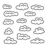 Obłoczny ikona set Wektor linii znaki Niebo Cloudscape Odosobneni przedmioty ilustracji