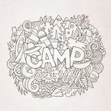 Obóz letni ręki literowanie i doodles elementy Zdjęcia Stock