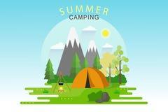 Obóz Letni W słonecznego dnia krajobrazie, mieszkanie Stylowa Wektorowa ilustracja Obrazy Royalty Free