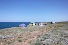 Obóz mlejący w naturze Zdjęcia Royalty Free