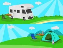 Obóz na łące Zdjęcie Royalty Free