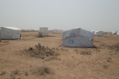 Obóz Uchodźców w afrykanin pustyni Zdjęcia Stock
