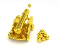 Obús miniatura de oro del cañón ilustración del vector