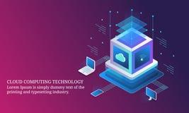 Obłoczna oblicza technologia, komputerowa dane informacja, zabezpiecza serweru projekta isometric pojęcie ilustracja wektor