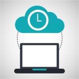 Obłoczna oblicza zegarowa ogólnospołeczna medialna wirtualna ikona Zdjęcie Stock