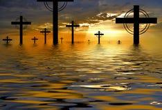 obłoczna sylwetka krzyżowa Fotografia Stock