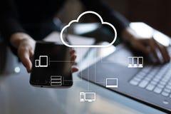 Obłoczna technologia Przechowywanie danych Networking i usługa internetowej pojęcie fotografia stock