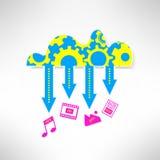 Obłoczna usługowa ikona z multimediami Sieć Zdjęcia Stock