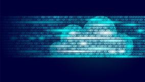 Obłoczne oblicza online magazynu binarnego kodu liczby Duża dane informaci interneta biznesu przyszłościowa nowożytna technologia ilustracja wektor