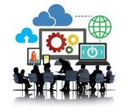 Obłocznej przechowywanie danych bazy danych technologii Online pojęcie Zdjęcie Stock
