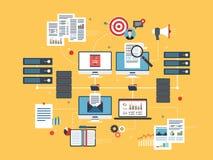 Obłoczni oblicza przyrząda, sieć przesyłania danych i business intelligence, Obrazy Royalty Free