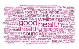 obłoczny dobre zdrowie etykietki słowo Zdjęcie Royalty Free