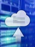 Obłoczny magazyn, dane dostęp, nazwa użytkownika i hasło, prosimy okno na serweru pokoju tle Interneta i technologii pojęcie obrazy stock