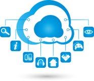 Obłoczny obliczać, chmura, internet, app, ilustracja royalty ilustracja