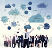 Obłoczny Oblicza networking Łączy Concpet Obrazy Stock