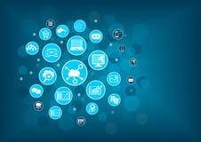 Obłoczny oblicza pojęcie jako ilustracja Zamazany technologie informacyjne tło z ikonami Zdjęcie Stock