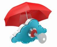 Obłoczny oblicza pojęcie z czerwoną parasol sieci ochroną Zdjęcia Stock