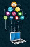 Obłoczny oblicza sieci pojęcie Obrazy Stock