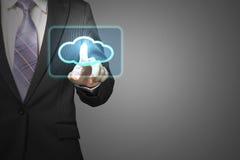 Obłoczny oblicza usługowy pojęcie, biznesmena dotyka chmury ikona wewnątrz Zdjęcia Royalty Free