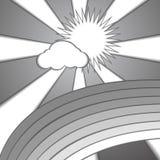 Obłoczny słońca i tęczy papieru stylu tło ilustracja wektor