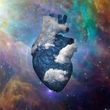 Obłoczny serce z galaktyką Obraz Royalty Free