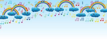 Obłoczny tęczy miłości muzyki notatki sztandar ilustracja wektor