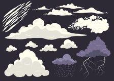 Obłoczny wektor ustawia odosobnionego na ciemnym tle, kreskówki burzy cloudscape z różnymi typ ilustracja wektor