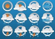 obłocznych ikon podeszczowa słońca pogoda Obrazy Royalty Free