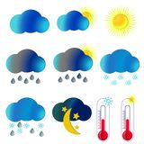 obłocznych ikon podeszczowa słońca pogoda Ilustraci pogoda zdjęcie royalty free