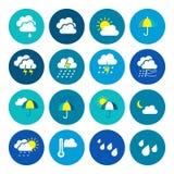 obłocznych ikon podeszczowa słońca pogoda Pogodowy emblemat Round ikony z pogodowymi symbolami i fazy księżyc ilustracji