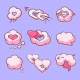 Obłocznych miłość serc komiczni elementy dla walentynka dnia wektoru ilustraci Obraz Royalty Free