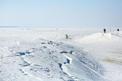Ob水库的冰的滑雪者 免版税库存图片
