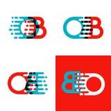 OB brievenembleem met accentsnelheid in rood en blauw Royalty-vrije Stock Afbeeldingen