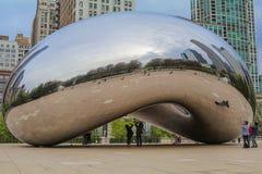 Ob?oczna bramy rze?ba w milenium parku, Chicago zdjęcia royalty free