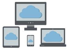 Obłoczna oblicza ikona na ekranach osobisty komputer, laptop, ta Obrazy Stock