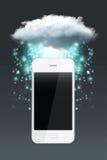 Obłoczna oblicza technologia z smartphone Obrazy Royalty Free