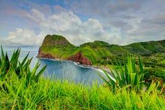 obłoczna oceanu nieba widok woda Trawa przy przedpolem Droga Hana, Maui, Hawaje Zdjęcie Royalty Free