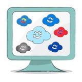 Obłoczna synchronizaci ikona na komputerowym monitorze - Wektorowa ilustracja Ilustracja Wektor