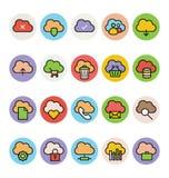 Obłoczne Oblicza Barwione Wektorowe ikony 1 Obraz Royalty Free