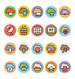 Obłoczne Oblicza Barwione Wektorowe ikony 2 Obraz Royalty Free