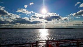 Ob rzeka od ferryboat gdzieś behaind Ural w Rosja Fotografia Stock