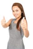 Oba Dwa aprobaty Zatwierdza Azjatycką dziewczyny połówkę V Fotografia Stock