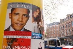 Obama. Billboard in Holland displaying information on Obama and a book about him Stock Image