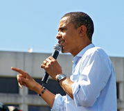 Obama. Barack Obama gestures at the crowd during a rally of 75,000 supporters (May 18, 2008 Stock Photography