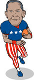 Obama as football player. Caricature illustration of  Barack Obama Stock Images