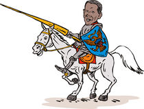 Obama as a knight on horse Stock Photo