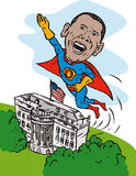 Obama as superhero white house Stock Images