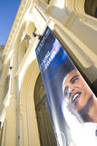 Obama-banner at Nobel Peace Center in Oslo. Nobel Peace Center at Aker Brygge, Oslo. Here is the exhibition of the peace price-winners. The 2009-price was Royalty Free Stock Photo