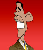 Obama Caricature. Caricature of Barack Obama on a red background Stock Images