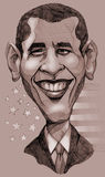 Obama caricature. A pencil-drawn monochrome caricature of the President of United States, Barack Obama Stock Photos